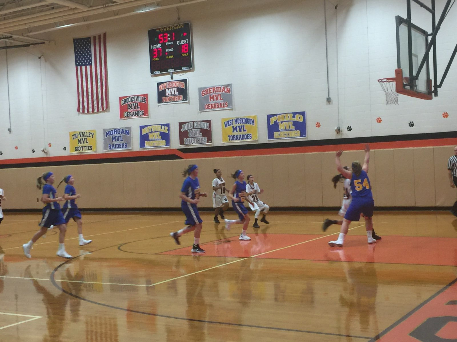 7th Grade Girls Basketball going for the win against Philo