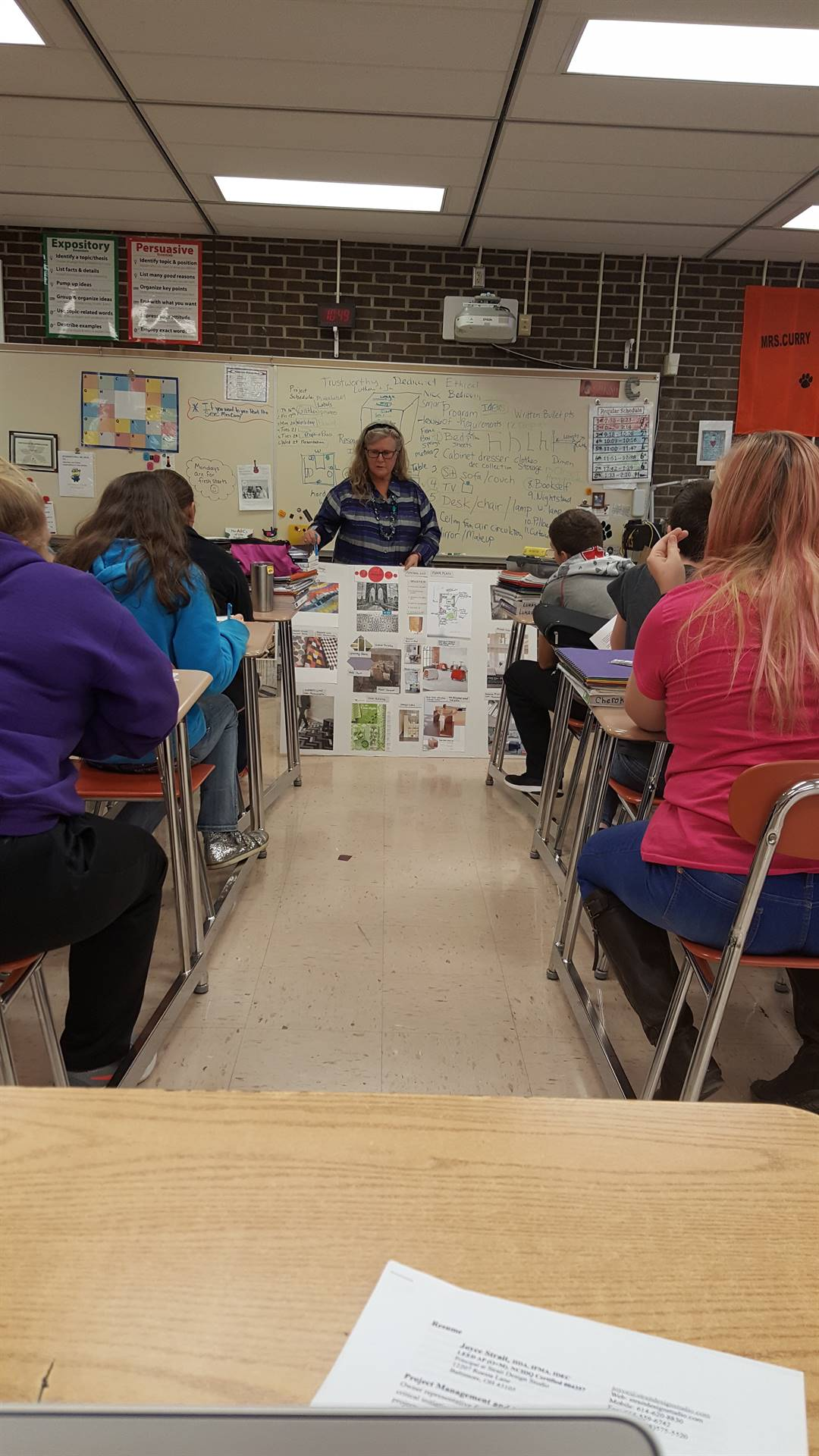 Joyce Strait, Interior Designer, working with the Intro to FCS class.