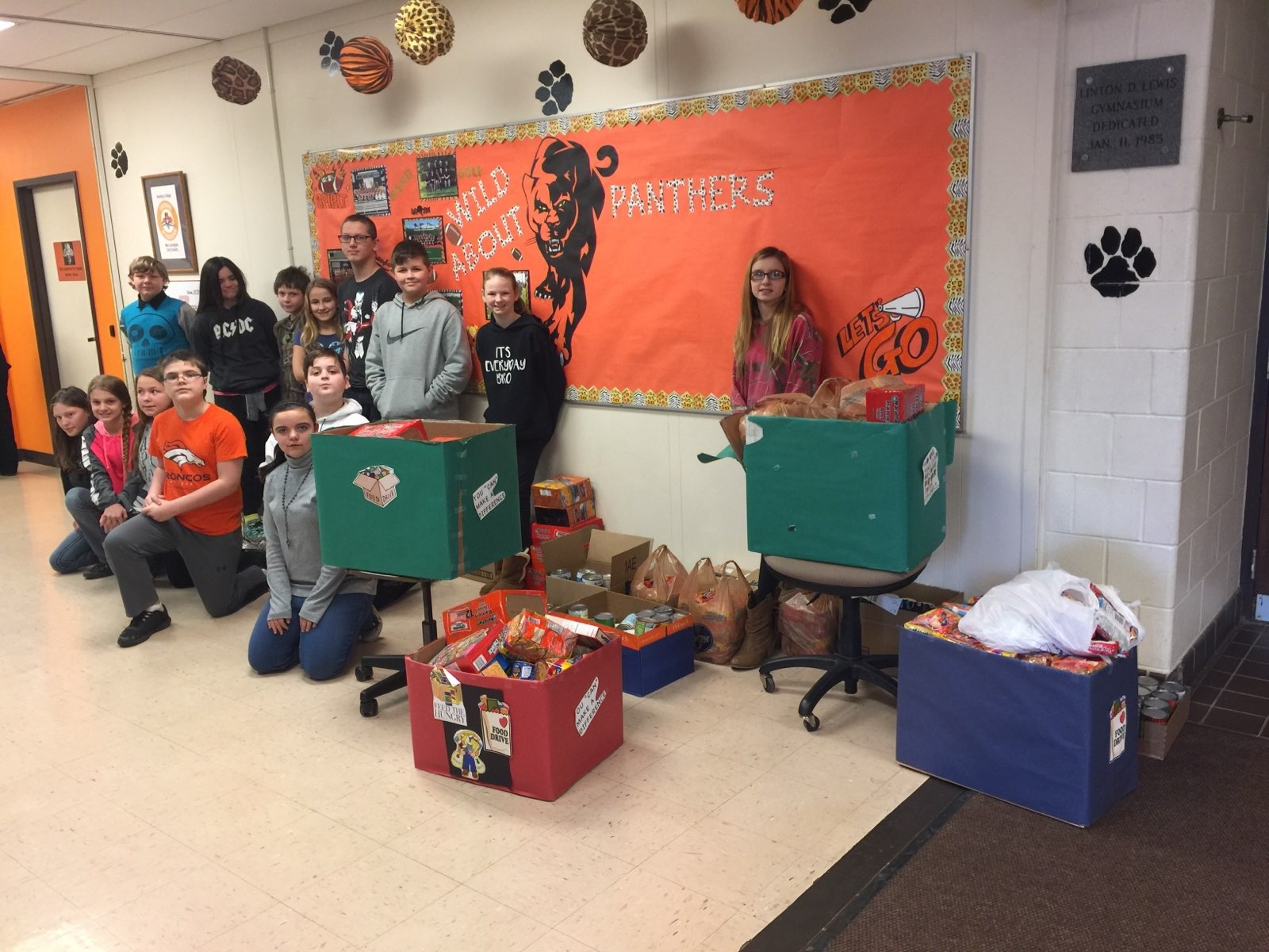 December's Student Council Food Drive. Our goal was 500 items and we collected over 1300 items!