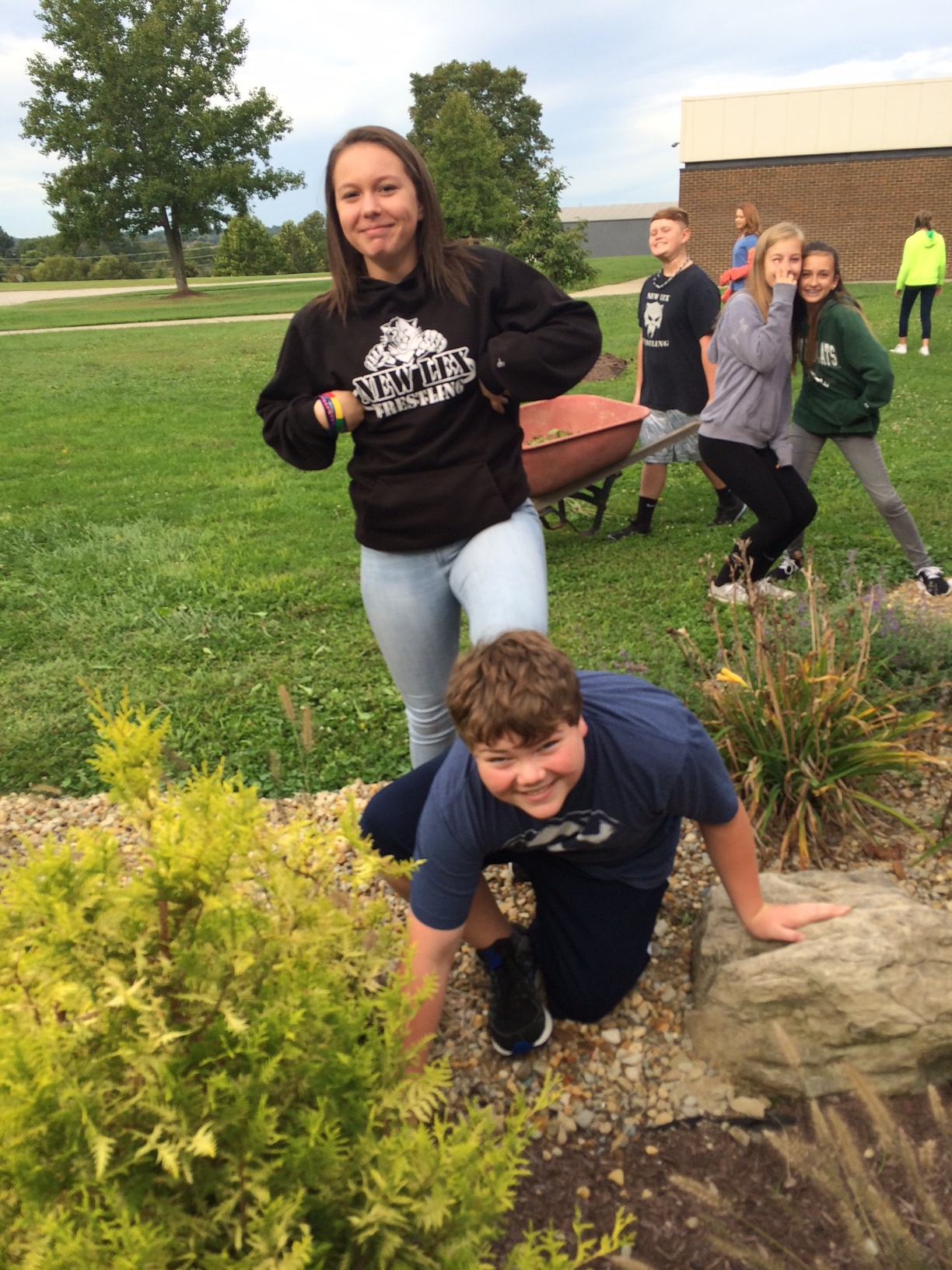 FFA tending to the school's landscaping