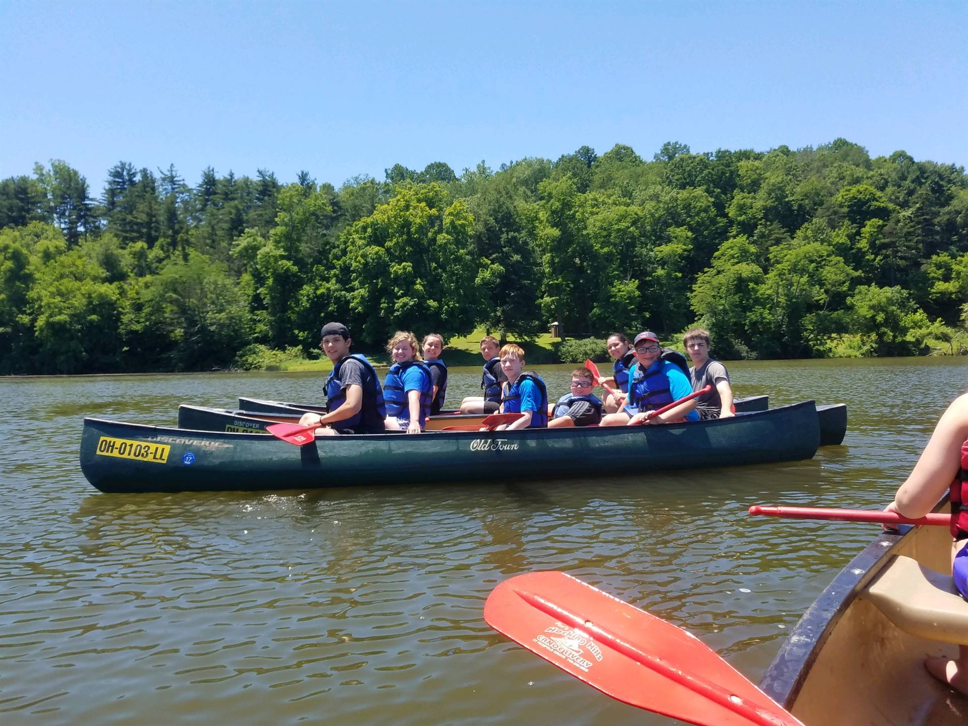 Students canoeing as a part of the Afterschool summer program.
