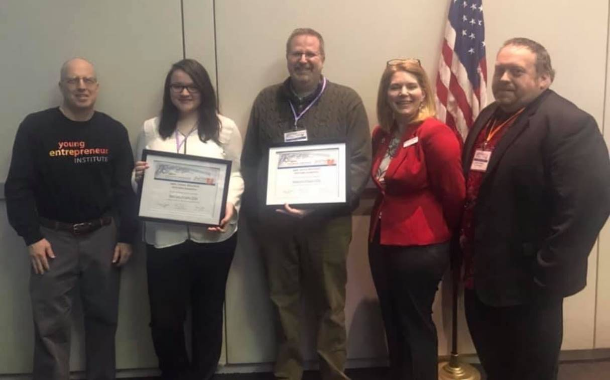 Allie Freeman receiving two Ohio Afterschool Network awards.
