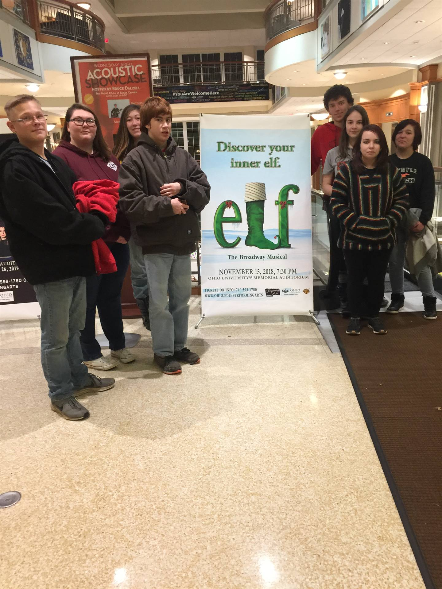 Afterschool students at the Athens presentation of Elf.