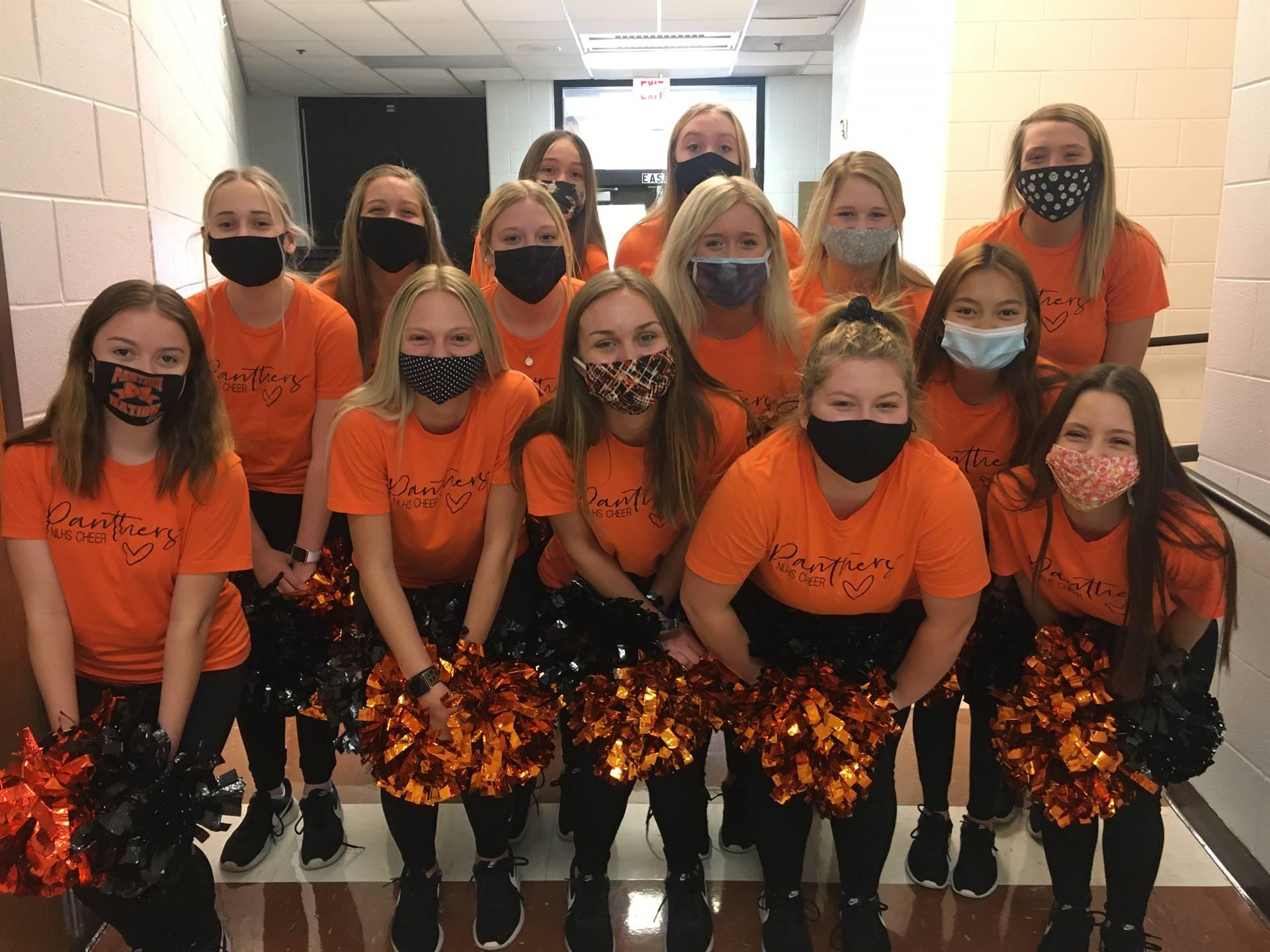 Cheerleaders during hallway pep rally