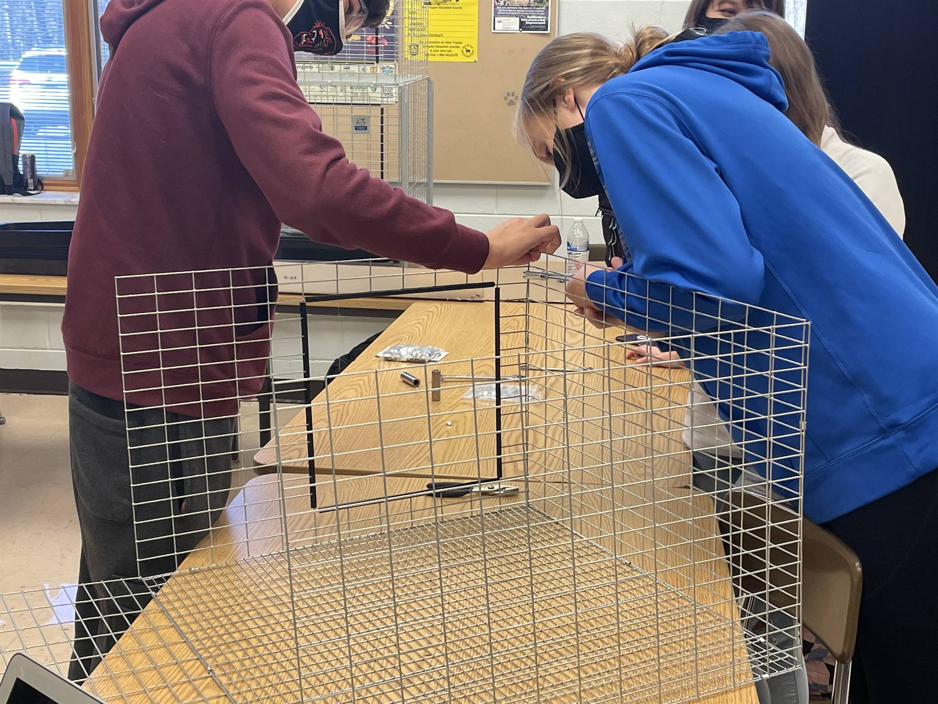 AG students building rabbit cages