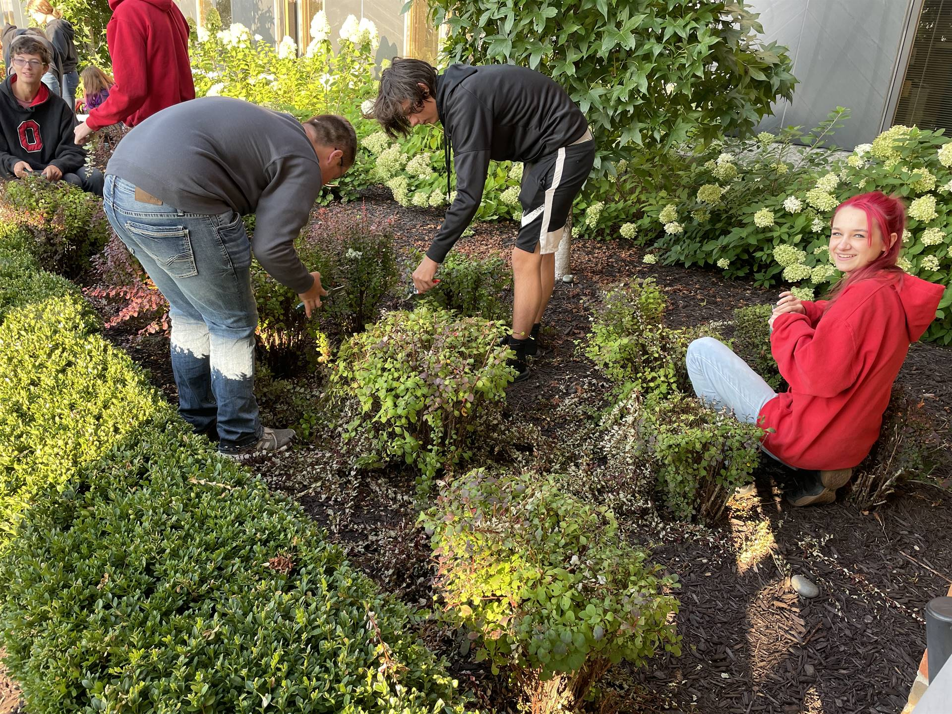 Mrs. Foster's Class working on our Flower Beds