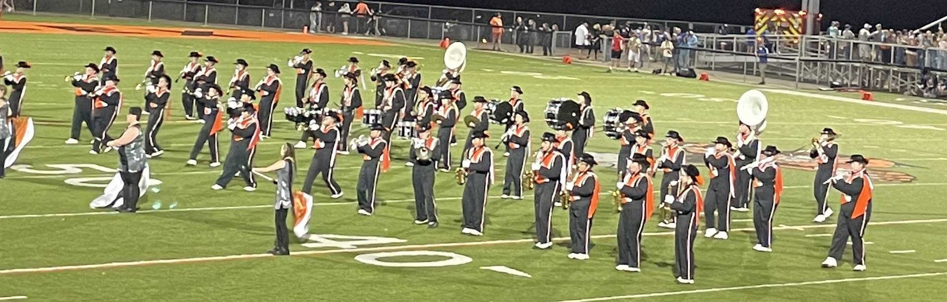Marching Band performing at Home vs. West