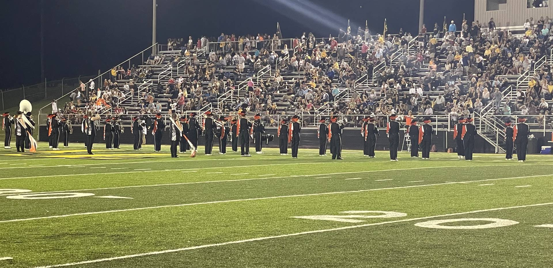 Marching Band Performing at the Tri Valley Game